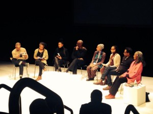 Bill Chat on When did the avant-garde become black? L to R: Ishmael Houston-Jones, Bebe Miller, Adrienne Edwards, Bill T Jones, Dianne McIntyre, Charmaine Warren, Ralph Lemon, Brenda Dixon Gottschild
