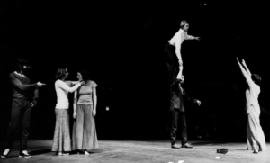 Nancy Lewis, Trisha Brown, Douglas Dunn aloft, photo by Babette Mangolte