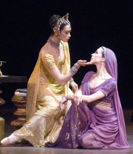 Stella Abrera, left, with Diana Vishneva in Bayadère, photo by