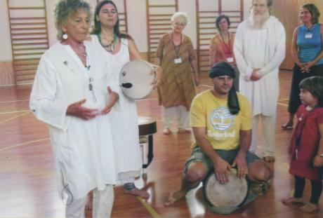 Anna Halprin with musicians in Jerusalem, 2010