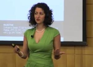 Nadia Aruri lecturing at Standford