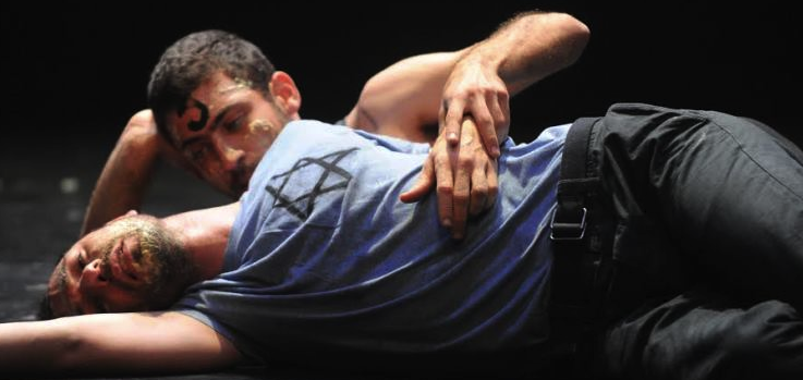 We Love Arabs, with Hillel Kogan foreground, and Adi Boutrous, photo by Gadi Dagon