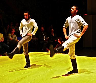 Dabke dancers from El-Funoun Dance Company in Yoshiko Chuma's Love sTroy, Palestine at LaMama, photo by Hugh Burkhardt