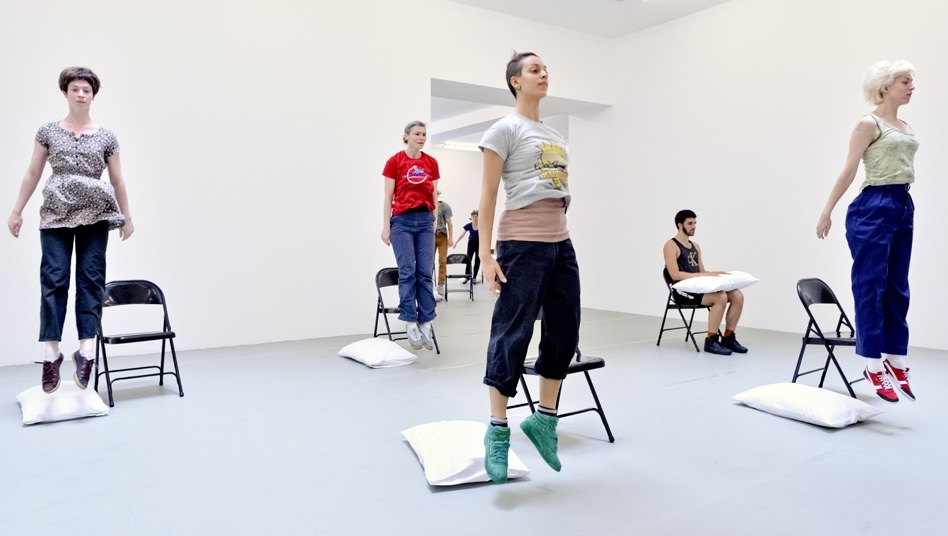 Rehearsal of Yvonne Rainer's Chair Pillow at Raven Row, photo by Eva Herzog