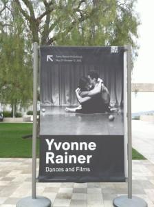 Billboard of Rainer exhibit at Getty Center