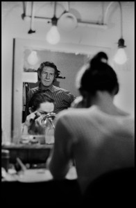 Cage watching Carolyn Brown in her dressing room at BAM, 1970