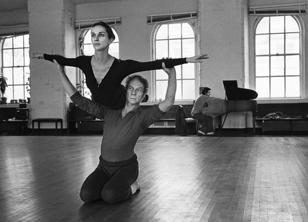 Merce and Carolyn Brown rehearsing Suite in Westbeth Studio, 1972