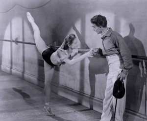Massine with Moira Shearer on the set of The Red Shoes, 1948