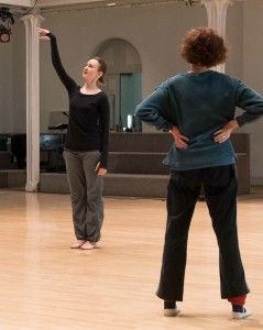 Kaitlyn demonstrating, me with hands on waist, photo by Ian Douglas
