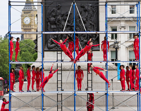 STREB's Human Fountain at the London Olympics. Photo by Julian Andrews
