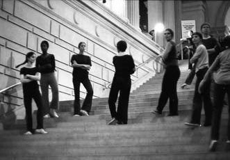 Rehearsing at the Metropolitan Museum, 1970. Rudner at left with braid.