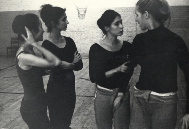 In Judson basement, rehearsing for Three Page Sonata for Four (1967); left to right: Margery Tupling, Rudner, Tharp, Wright; photo by Robert Propper.