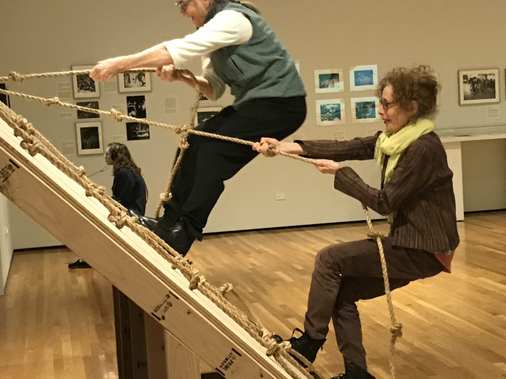 I couldn't resist: Here I am with old dance pal Wendy Rogers climbing the Slant Board. Photo by Linda Murray