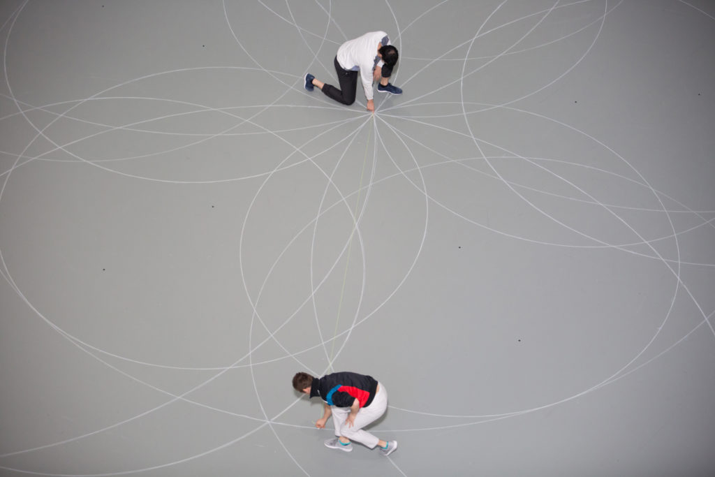 Rosas dancers re-drew the chalk circles evey hour at MoMA, photo @ Julieta Cervantes The Museum of Modern Art New York, N.Y. March 29, 2017 Photo Credit: Julieta Cervantes
